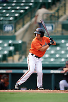 Baltimore Orioles Tim Nichting (55) at bat during an Instructional League game against the Tampa Bay Rays on October 2, 2017 at Ed Smith Stadium in Sarasota, Florida.  (Mike Janes/Four Seam Images)