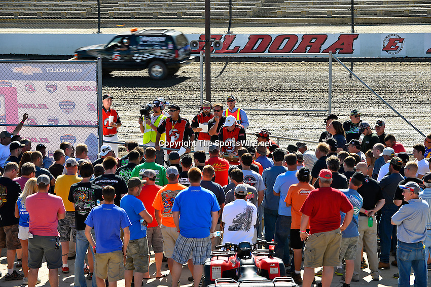 Jun 5, 2014; 4:06:09 PM; Rossburg, OH., USA; The 20th annual Dirt Late Model Dream XX in an expanded format for Eldora's $100,000-to-win race includes two nights of double features, 567 laps of action  Mandatory Credit:(thesportswire.net)