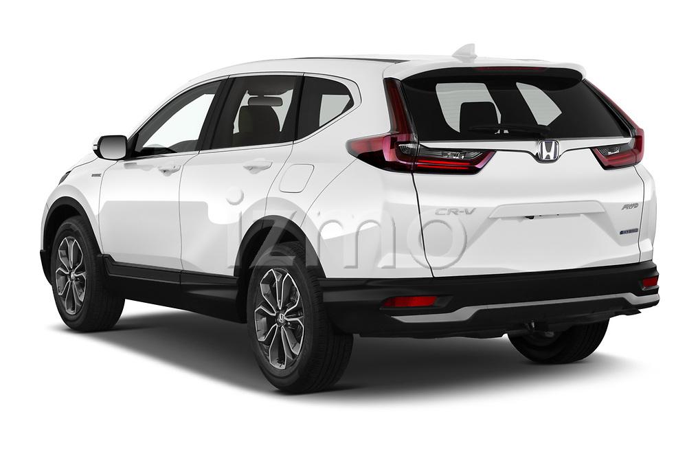 Car pictures of rear three quarter view of 2021 Honda CR-V-Hybrid EX 5 Door SUV Angular Rear