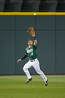 Center fielder Reece Hampton (2) of the Charlotte 49ers makes a running catch during the game against the Georgia Bulldogs at BB&T Ballpark on March 8, 2016 in Charlotte, North Carolina. The 49ers defeated the Bulldogs 15-4. (Brian Westerholt/Four Seam Images)