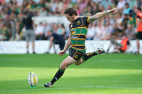 Ryan Lamb of Northampton Saints takes a conversion attempt during the Aviva Premiership match between Northampton Saints and Exeter Chiefs at Franklin's Gardens on Sunday 9th September 2012 (Photo by Rob Munro)