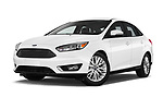 Stock pictures of low aggressive front three quarter view of 2017 Ford Focus Titanium 4 Door Sedan Low Aggressive