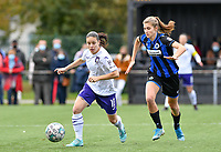 Stefania Vatafu (10 Anderlecht) pictured in a fight for the ball with Marie Minnaert (13 Brugge) during a female soccer game between Club Brugge Dames YLA and RSC Anderlecht Ladies on the fifth matchday of the 2020 - 2021 season of Belgian Scooore Womens Super League , sunday 18 October 2020  in Brugge , Belgium . PHOTO SPORTPIX.BE | SPP | DAVID CATRY