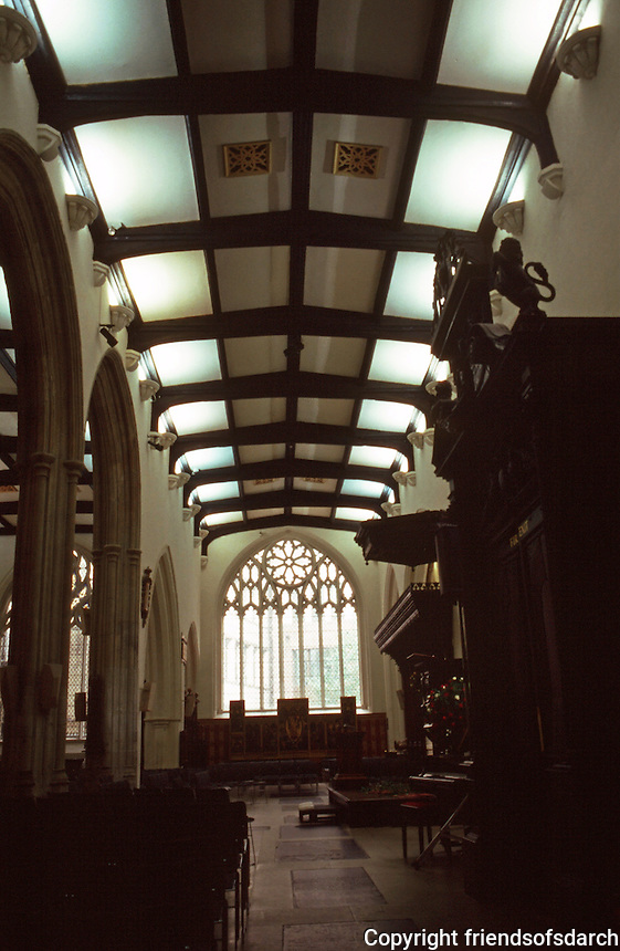London:  St. Helen Bishopsgate--South Nave for Laity. Originally there was a screen between the two.  Photo '90.