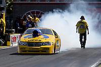 Apr. 7, 2013; Las Vegas, NV, USA: NHRA pro stock driver Jeg Coughlin during the Summitracing.com Nationals at the Strip at Las Vegas Motor Speedway. Mandatory Credit: Mark J. Rebilas-