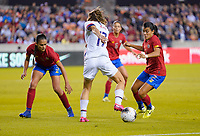 HOUSTON, TX - FEBRUARY 03: Gabriela Guillen #2 and Maria Paula Coto #3 of Costa Rica defend against advancing Tobin Heath #17 of the United States during a game between Costa Rica and USWNT at BBVA Stadium on February 03, 2020 in Houston, Texas.