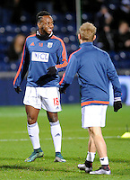 Saido Berahino of West Bromwich Albion looks happy during the warm up before the Barclays Premier League match between West Bromwich Albion and Swansea City at The Hawthorns on the 2nd of February 2016