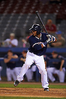 Connecticut Tigers catcher Franklin Navarro (57) at bat during the second game of a doubleheader against the Brooklyn Cyclones on September 2, 2015 at Senator Thomas J. Dodd Memorial Stadium in Norwich, Connecticut.  Connecticut defeated Brooklyn 2-1.  (Mike Janes/Four Seam Images)
