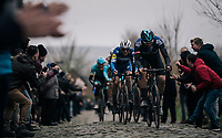 Ian Stannard (GBR/SKY) followed by Zdeněk ŠTYBAR (CZE/Deceuninck-Quick Step)  up the Oude Kwaremont<br /> <br /> 71th Kuurne-Brussel-Kuurne 2019 <br /> Kuurne to Kuurne (BEL): 201km<br /> <br /> ©kramon