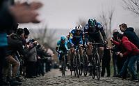 Ian Stannard (GBR/SKY) followed by Zdeněk ŠTYBAR (CZE/Deceuninck-Quick Step)  up the Oude Kwaremont<br /> <br /> 71th Kuurne-Brussel-Kuurne 2019 <br /> Kuurne to Kuurne (BEL): 201km<br /> <br /> ©kramon