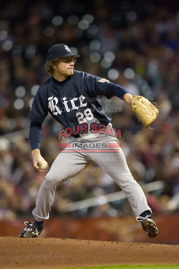 Starting pitcher Ryan Berry #28 of the Rice Owls in action versus the Texas A&M Aggies in the 2009 Houston College Classic at Minute Maid Park February 28, 2009 in Houston, TX.  The Owls defeated the Aggies 2-0. (Photo by Brian Westerholt / Four Seam Images)