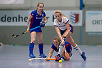 GER - Mannheim, Germany, December 01: During the 1. Bundesliga Sued women indoor hockey match between Feudenheimer HC (blue) and Mannheimer HC (white) on December 1, 2018 at Irma-Roechling-Halle in Mannheim, Germany. Final score 3-7. (Photo by Dirk Markgraf / www.265-images.com) *** Local caption ***