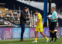 3rd October 2020; Kenilworth Road, Luton, Bedfordshire, England; English Football League Championship Football, Luton Town versus Wycombe Wanderers; Wycombe Wanderers Manager Gareth Ainsworth asking Referee Graham Scott for an explanation after Assistant Referee Henry Lennard flagged Scott Kashket of Wycombe Wanderers goal as offside as a disappointed Scott Kashket of Wycombe Wanderers walks back into the Wycombe Wanderers tunnel