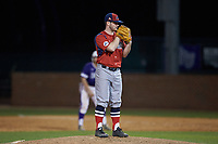 NJIT Highlanders relief pitcher Bryan Haberstroh (7) looks to his catcher for the sign against the High Point Panthers at Williard Stadium on February 18, 2017 in High Point, North Carolina. The Highlanders defeated the Panthers 4-2 in game two of a double-header. (Brian Westerholt/Four Seam Images)