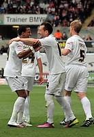 Pictured: Stephen Dobbie (C) of Swansea celebrating his opening goal with Scott Sinclair (L). Saturday 07 May 2011<br /> Re: Swansea City FC v Sheffield United, npower Championship at the Liberty Stadium, Swansea, south Wales.