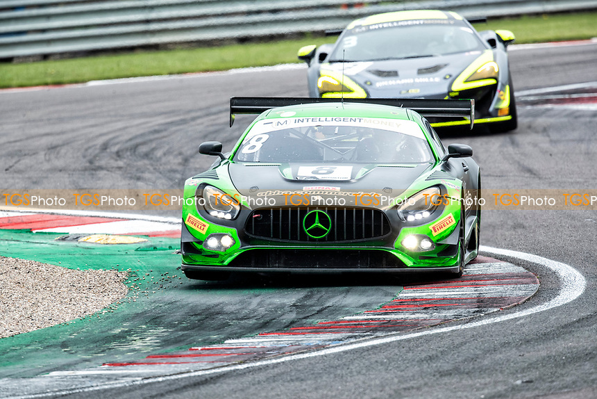 Richard Neary & Sam Neary, Mercedes AMG GT3, Team Abba Racing from Alain Valente & Michael Benyahia, McLaren 570S GT4, Team Rocket RJN through Fogarty Esses during the British GT & F3 Championship on 10th July 2021