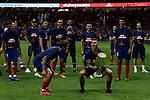 Atletico de Madrid's Antoine Griezmann (l) and Lucas Hernandez (r) celebrates the Super Cup Tittle after La Liga match. August 25, 2018. (ALTERPHOTOS/A. Perez Meca)