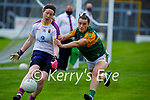 Kerry's Niamh Kearney putting pressure on Wexford's keeper Sarah Merrigan during their encounter in the Lidl LGFA National football league game in Fitzgerald Stadium Killarney on Sunday.
