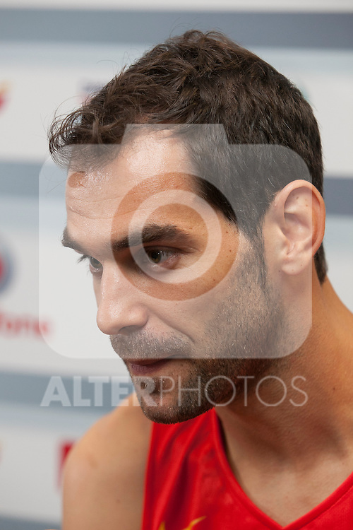 Calderon during the official presentation of Spain´s basketball team for the 2014 Spain Basketball Championship in Madrid, Spain. July 24, 2014. (ALTERPHOTOS/Victor Blanco)