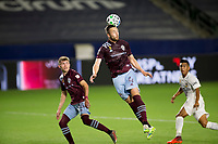 CARSON, CA - SEPTEMBER 19: Danny Wilson #4 of the Colorado Rapids leaps high for a ball during a game between Colorado Rapids and Los Angeles Galaxy at Dignity Heath Sports Park on September 19, 2020 in Carson, California.