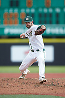 Charlotte 49ers relief pitcher Philip Perry (34) in action against the Arkansas Razorbacks at Hayes Stadium on March 21, 2018 in Charlotte, North Carolina.  The 49ers defeated the Razorbacks 6-3.  (Brian Westerholt/Four Seam Images)