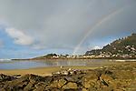 Rainbow over Yachats Bay, Oregon coast.