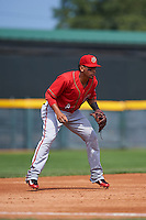 Harrisburg Senators third baseman Adrian Sanchez (8) during a game against the Erie Seawolves on August 30, 2015 at Jerry Uht Park in Erie, Pennsylvania.  Harrisburg defeated Erie 4-3.  (Mike Janes/Four Seam Images)