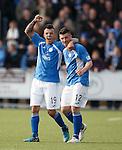 Derek Lyle celebrates his goal with Lewis Kidd
