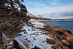 Winter along the Ocean Path in Acadia National Park, Downeast, ME, USA