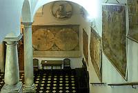 - Genoa, museum of Spinola Palace, staircase with ancient maps....- Genova, museo di Palazzo Spinola, scalone con mappe antiche