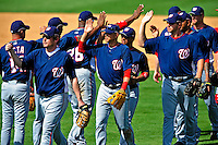16 March 2009: Washington Nationals celebrate a Spring Training win against the Florida Marlins at Roger Dean Stadium in Jupiter, Florida. The Nationals defeated the Marlins 3-1 in the Grapefruit League matchup. Mandatory Photo Credit: Ed Wolfstein Photo