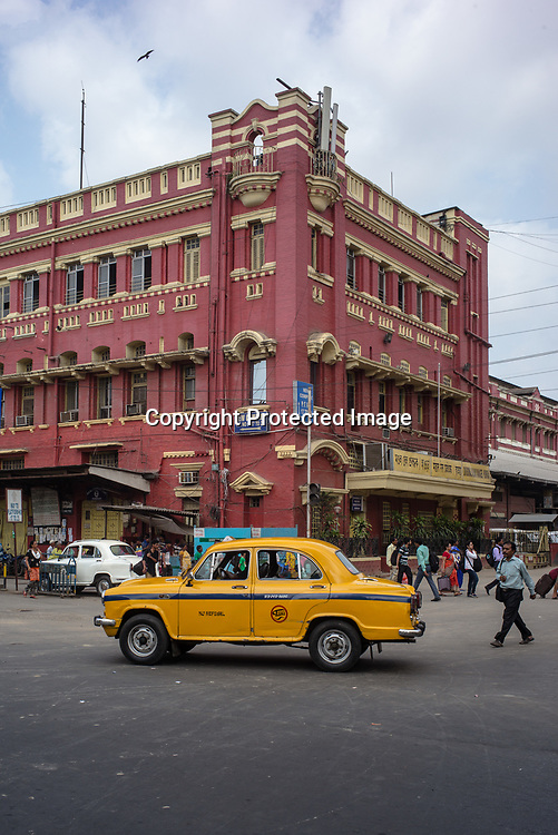 Local Calcutta Taxis seen outside the Howrah station in Kolkata, West Bengal on Friday, May 26, 2017. Photographer: Sanjit Das