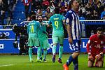 FC Barcelona's forward Leo Messi, forward Luis Suarez, forward Neymar Santos Jr  celebrates after scoring a goal during the match of La Liga between Deportivo Alaves and Futbol Club Barcelona at Mendizorroza Stadium in Vitoria, Spain. February 11, 2017. (ALTERPHOTOS/Rodrigo Jimenez)