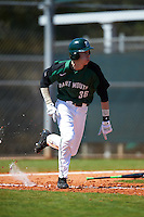 Dartmouth Big Green center fielder Trevor Johnson (36) runs to first base during a game against the Eastern Michigan Eagles on February 25, 2017 at North Charlotte Regional Park in Port Charlotte, Florida.  Dartmouth defeated Eastern Michigan 8-4.  (Mike Janes/Four Seam Images)