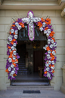 Oaxaca, Mexico, North America.  Day of the Dead Celebrations.  Skulls form an Archway around the entrance to the Hotel Marques del Valle.