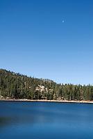 Moon over Scotts Lake, Sierra Nevada Mountains, California