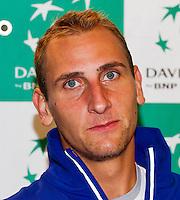 September 10, 2014,Netherlands, Amsterdam, Ziggo Dome, Davis Cup Netherlands-Croatia, Press conference, Dutch team : Thiemo de Bakker, <br /> Photo: Tennisimages/Henk Koster