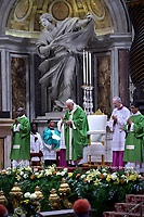 Pope Francis looks on as he celebrates a mass as part of World Mission Sunday on October 20, 2019 at St. Peter's Basilica in the Vatican.