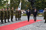 Egyptian President Abdel Fattah al-Sisi inspects the honour guard with Hungary's President Janos Ader at the presidental palace in Budapest, Hungary, on October 12, 2021 during his welcoming ceremony. Photo by Egyptian President Office