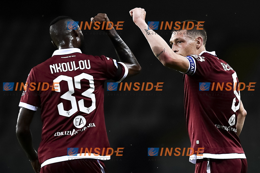 Andrea Belotti of Torino FC (R) celebrates with Nicolas N'Koulou after scoring the goal of 1-0 during the Serie A football match between Torino FC and Udinese at Olimpico stadium in Torino ( Italy ), June 23th, 2020. Play resumes behind closed doors following the outbreak of the coronavirus disease. <br /> Photo Image Sport / Insidefoto