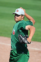 Fort Wayne TinCaps pitcher Roman Madrid (17) during practice before a game against the Great Lakes Loons on August 19, 2013 at Dow Diamond in Midland, Michigan.  Great Lakes defeated Fort Wayne 12-5.  (Mike Janes/Four Seam Images)
