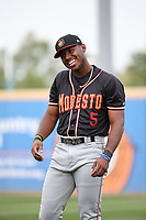 Kyle Lewis (5) of the Modesto Nuts before a game against the Rancho Cucamonga Quakes at LoanMart Field on August 2, 2017 in Rancho Cucamonga, California. Modesto defeated Rancho Cucamonga, 10-5. (Larry Goren/Four Seam Images)
