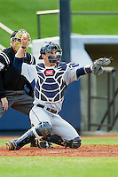 Georgia Southern Eagles catcher Chase Griffin (23) on defense against the UNCG Spartans at UNCG Baseball Stadium on March 29, 2013 in Greensboro, North Carolina.  The Spartans defeated the Eagles 5-4.  (Brian Westerholt/Four Seam Images)