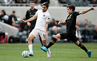 LOS ANGELES, CA - MARCH 01: Dejan Jakovic #5 of LAFC and Rodolfo Pizarro #10 of Inter Miami CF battle for a ball during a game between Inter Miami CF and Los Angeles FC at Banc of California Stadium on March 01, 2020 in Los Angeles, California.