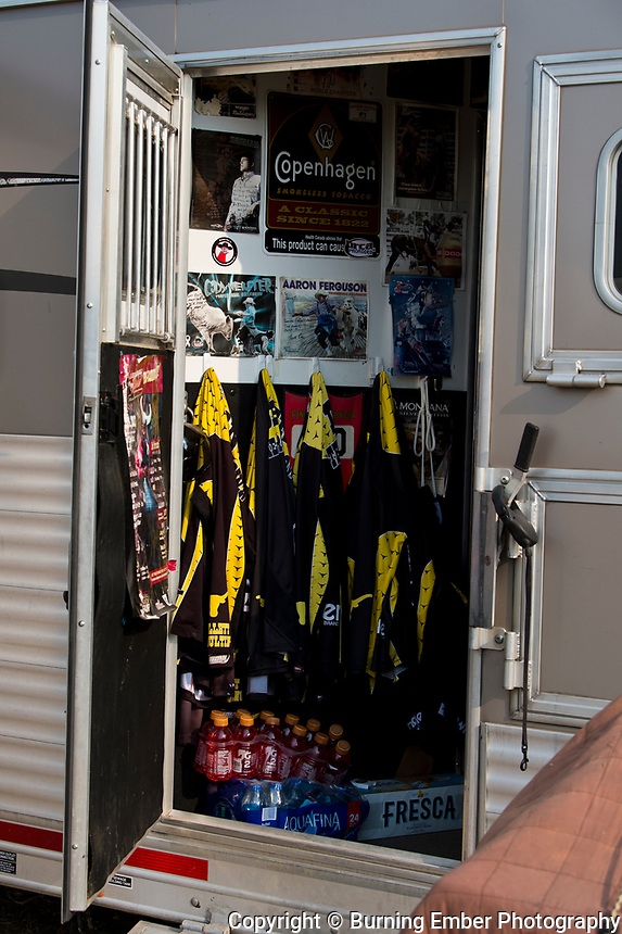 A fans art deco and his professional wardrobe at Northwest Montana Fair and  Rodeo Kalispell MT August 16th, 2018.  Photo by Josh Homer/Burning Ember Photography.  Photo credit must be given on all uses.