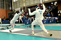BOGOTA – COLOMBIA – 26 – 05 – 2017: Sung Ho An (Izq.) de Corea, combate con Alexis Bayard (Der.) de Suiza, durante Varones Mayores Epee del Gran Prix de Espada Bogota 2017, que se realiza en el Centro de Alto Rendimiento en Altura, del 26 al 28 de mayo del presente año en la ciudad de Bogota.  / Sung Ho An (L) from Korea, fights with Alexis Bayard (R) from Switzerland, during Senior Men´s Epee of the Grand Prix of Espada Bogota 2017, that takes place in the Center of High Performance in Height, from the 26 to the 28 of May of the present year in The city of Bogota.  / Photo: VizzorImage / Luis Ramirez / Staff.