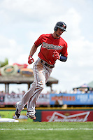 Minnesota Twins outfielder Jordan Schafer (1) runs the bases on a Kennys Vargas (not pictured) home run during a Spring Training game against the Pittsburgh Pirates on March 13, 2015 at McKechnie Field in Bradenton, Florida.  Minnesota defeated Pittsburgh 8-3.  (Mike Janes/Four Seam Images)