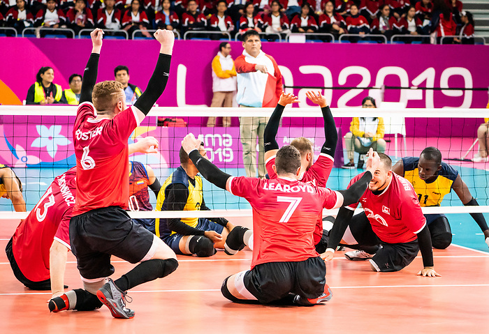 Jesse Buckkingham, Jesse Ward, Bryce Foster and Doug Learoyd, Lima 2019 - Sitting Volleyball // Volleyball assis.<br /> Canada competes for the bronze medal in men's Sitting Volleyball // Canada participe pour la médaille de bronze en volleyball assis masculin. 28/08/2019.