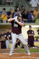 Mississippi State Bulldog first baseman Wes Rea #35 at bat against the LSU Tigers during the NCAA baseball game on March 16, 2012 at Alex Box Stadium in Baton Rouge, Louisiana. LSU defeated Mississippi State 3-2 in 10 innings. (Andrew Woolley / Four Seam Images)