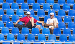 Peter Cookson,  High Performance Director, Mike Spracklen - Centre Lead and National Heavyweight Men's Coach, Men's Eight, (right) converse in the stands, Saturday 27th August, prior to the Sunday heats,